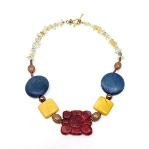 Tribal Stone and Bead Gold Plated Choker Necklace